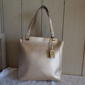 Ralph Lauren Carlisle Tote, Faux Leather, Gold